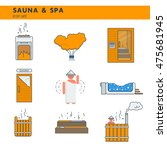 bath and sauna   set of line... | Shutterstock .eps vector #475681945