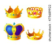 set of royal gold crowns with...