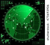 green radar screen with planes...   Shutterstock .eps vector #475693906
