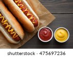 barbecue grilled hot dog with... | Shutterstock . vector #475697236