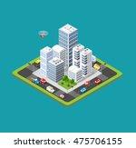 flat 3d isometric urban city... | Shutterstock .eps vector #475706155
