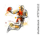 Colored Hand Sketch Basketball...