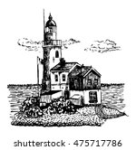 drawing lighthouse with a two...