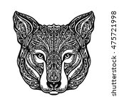 ethnic ornamented wolf head.... | Shutterstock .eps vector #475721998