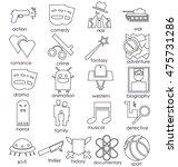 vector line icons set. cinema... | Shutterstock .eps vector #475731286