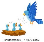 bird and its babies in the nest ... | Shutterstock .eps vector #475731352