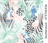 illustration tropical floral...   Shutterstock . vector #475746556