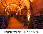 rows of dusty champagne bottles ... | Shutterstock . vector #475770976