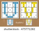 sudoku vector set with answers. ... | Shutterstock .eps vector #475771282