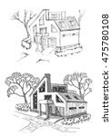 vacation home before and after... | Shutterstock .eps vector #475780108