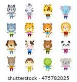 set of cartoon cute animal...   Shutterstock . vector #475782025