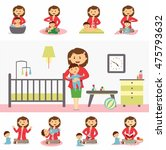 motherhood and family concept... | Shutterstock .eps vector #475793632