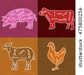 set of butcher shop labels and... | Shutterstock .eps vector #475800256