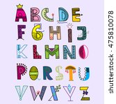 colorful hand drawn alphabet.... | Shutterstock .eps vector #475810078