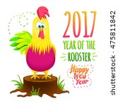 christmas card with funny...   Shutterstock .eps vector #475811842