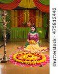 indian girl making rangoli... | Shutterstock . vector #475812442