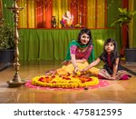 two indian girls or sisters in... | Shutterstock . vector #475812595