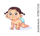 vector baby girl in a diaper... | Shutterstock .eps vector #475817122