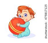 red haired baby boy sitting... | Shutterstock .eps vector #475817125