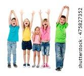 joyful laughing children with... | Shutterstock . vector #475827352