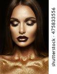 beautyful girl with gold... | Shutterstock . vector #475833556
