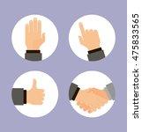 hands icons set  flat design... | Shutterstock . vector #475833565