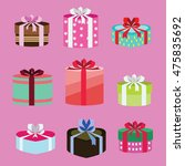 gift box set oval and heart... | Shutterstock .eps vector #475835692