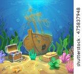 underwater landscape. the ocean ... | Shutterstock .eps vector #475837948
