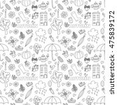 vector autumn doodles card.... | Shutterstock .eps vector #475839172