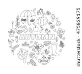 vector autumn doodles card.... | Shutterstock .eps vector #475839175