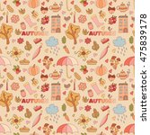 vector autumn doodles card.... | Shutterstock .eps vector #475839178