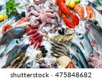 seafood on ice at the fish... | Shutterstock . vector #475848682