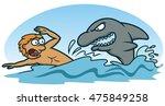 scared man avoiding shark... | Shutterstock .eps vector #475849258