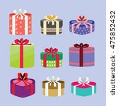gift box set oval and heart... | Shutterstock .eps vector #475852432