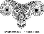 astrology sign aries. doodle... | Shutterstock .eps vector #475867486