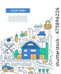 your farm   vector line design... | Shutterstock .eps vector #475896226