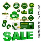 vector green sale labels set | Shutterstock .eps vector #47591002