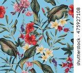 seamless tropical flower... | Shutterstock . vector #475927108