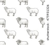 rams. seamless vector pattern... | Shutterstock .eps vector #475931326