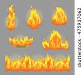 a collection of flaming fire... | Shutterstock .eps vector #475937062