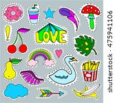 cartoon patch badges set ... | Shutterstock .eps vector #475941106