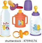 set of small bottles and a... | Shutterstock .eps vector #47594176