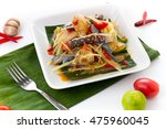 papaya salad  somtum  fresh... | Shutterstock . vector #475960045
