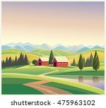 rural landscape with the houses ... | Shutterstock .eps vector #475963102