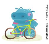 Kid Cute Hippo With Bicycle...