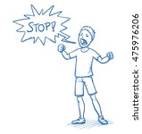 angry young boy yelling stop... | Shutterstock .eps vector #475976206