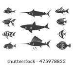 grey fish silhouettes set... | Shutterstock .eps vector #475978822