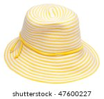Yellow floppy hat perfect for a summer day at the beach.  Isolated on white with a clipping path. - stock photo