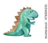 watercolor green dinosaur on... | Shutterstock . vector #476004232