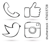 social media icon set. hand... | Shutterstock .eps vector #476015728